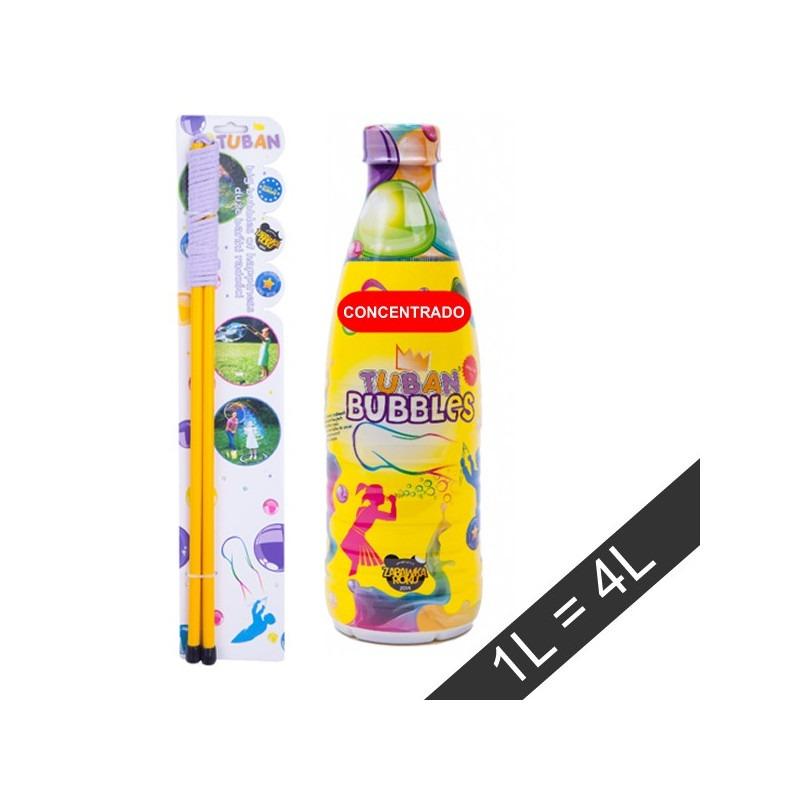 Set varita pompas gigantes + líquido para pompas gigantes 1L concentrado TUBAN