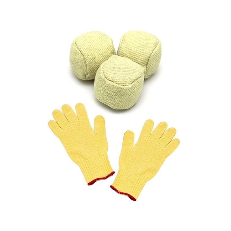 Set de 3 pelotas de fuego Freaks con guantes